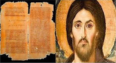 An image of ancient pages from a book, followed by a painting of Jesus