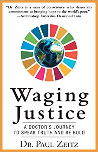 "Book cover: ""Waging Justice: A Doctor's Journey to Speak Truth and Be Bold"""